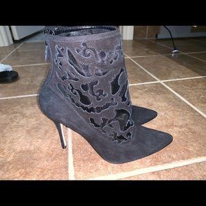 Manolo Blahnik Black Bricamina Suede Lace Boots
